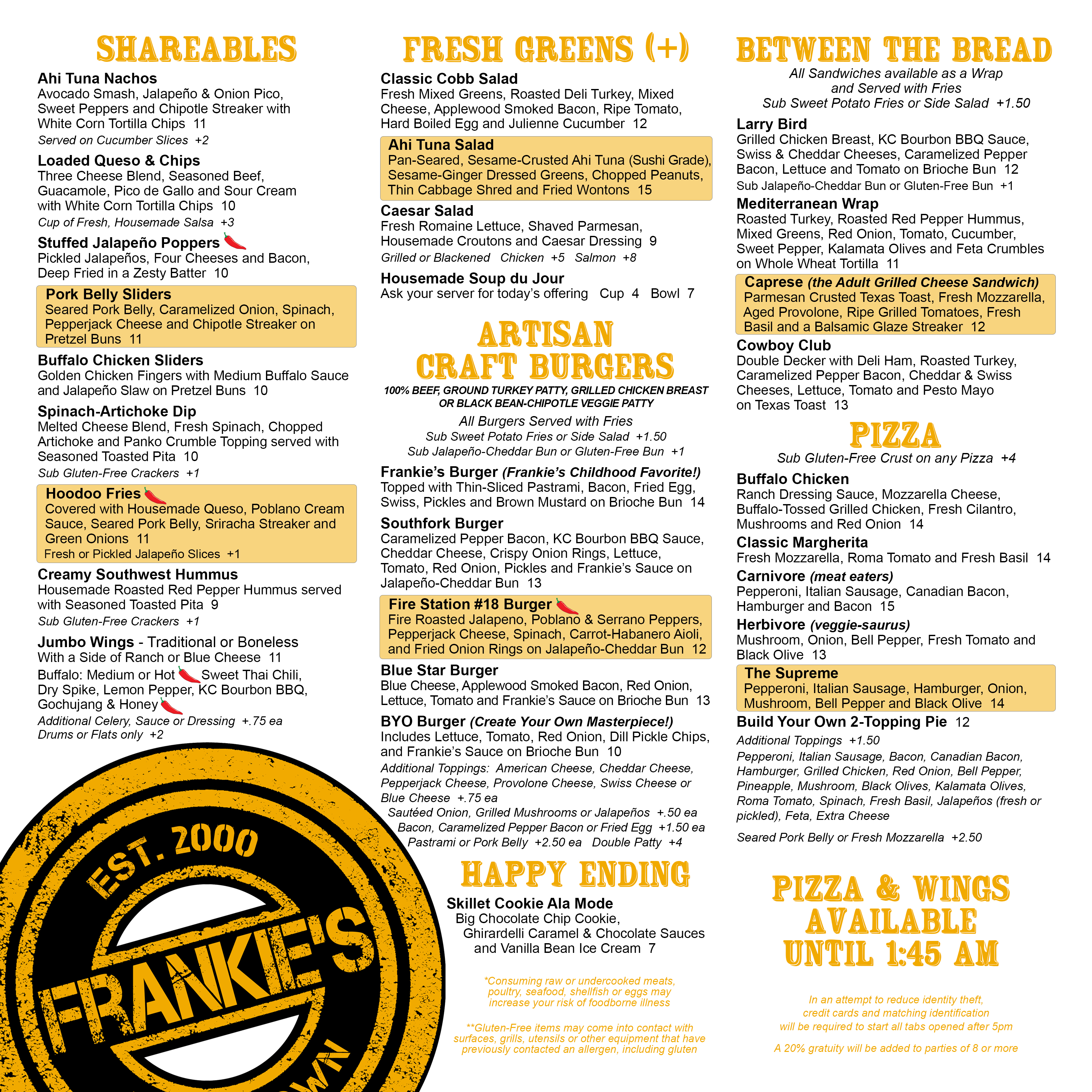 Frankie's - Downtown - Dallas - New Menu - Restaurant - Bar