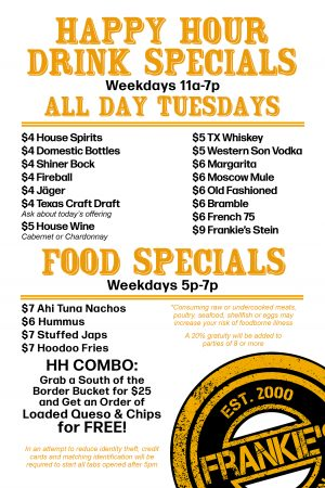 Frankie's - Downtown - Dallas - New - Happy - Hour - Menu - 11am - 7pm - Bar
