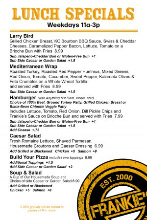 Frankie's - Downtown - Dallas - Lunch - Menu - Weekdays - 11am - to - 3pm - Restaurant - Bar
