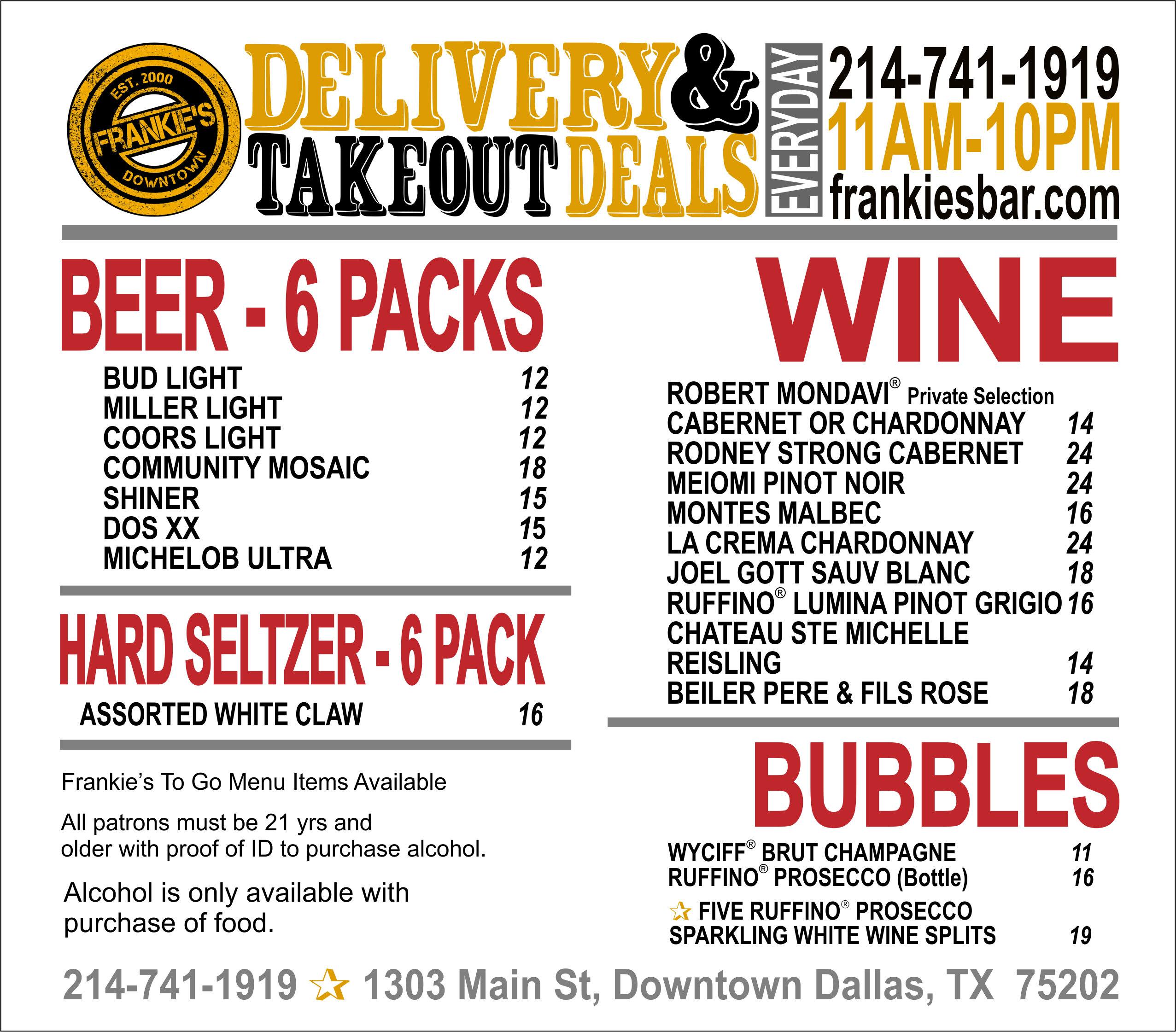 Frankie's - Downtown - Dallas - Free - Alcohol - Delivery - Downtown - Dallas - Food - and - alcohol - packages
