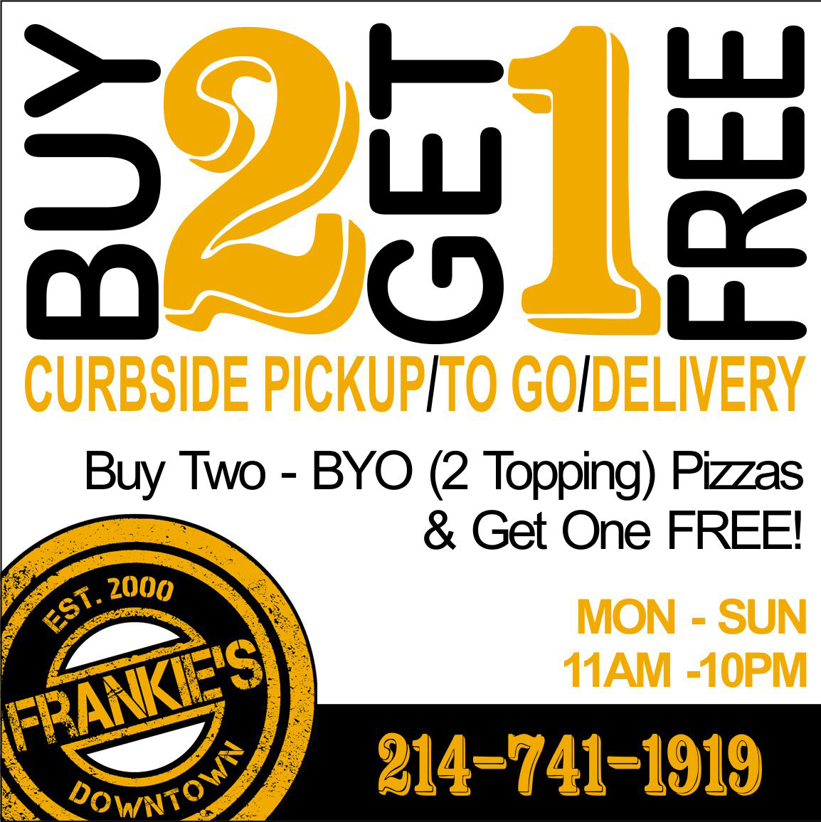 Frankie's - Downtown - Dallas - Alcohol - Food - Delivery - Free - To Go - Curbside - Pick Up