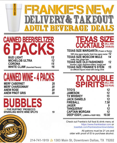 Frankie's-Downtown-To-Go-Alcoholic-Beverage-Deals-Closed-Container-Events-DALLAS